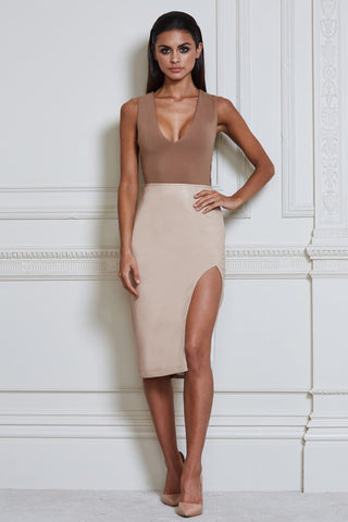 Vittoria Faux Leather Midi Skirt - Nude