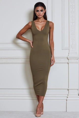 Nilda Bodycon Midi Dress - Khaki