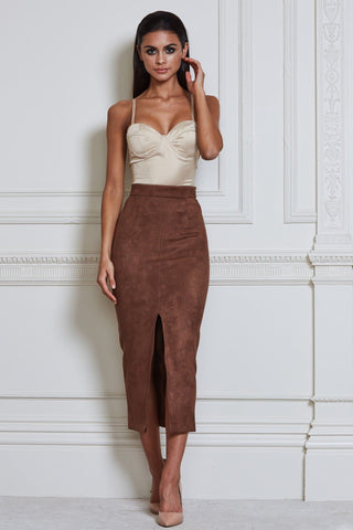 Veronica Suede Midi Skirt - Tan