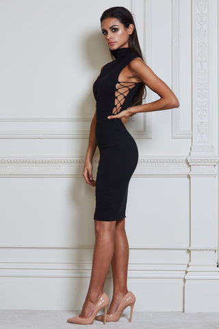 Tahlia Criss Cross Midi Dress - Black