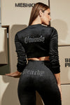 Gretchen Velvet Cropped Jacket - Black