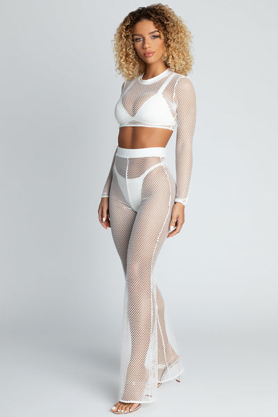 Arabella Flared Fishnet Pants - White - MESHKI