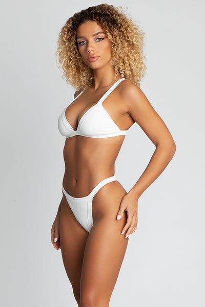 Esme Ribbed Triangle Bikini Top - White - MESHKI