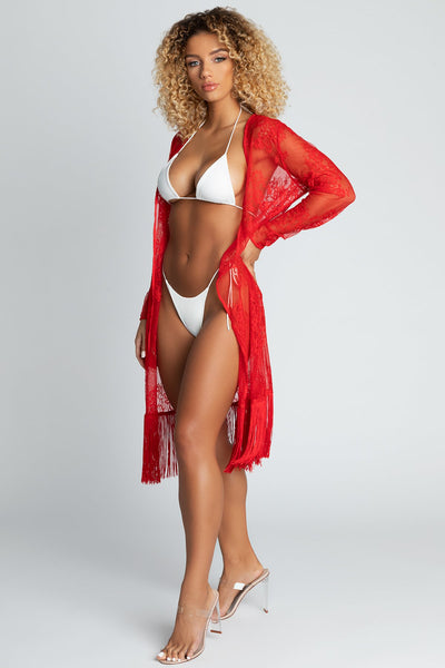 Roxie Tassel Trim Lace Cover Up - Red - MESHKI