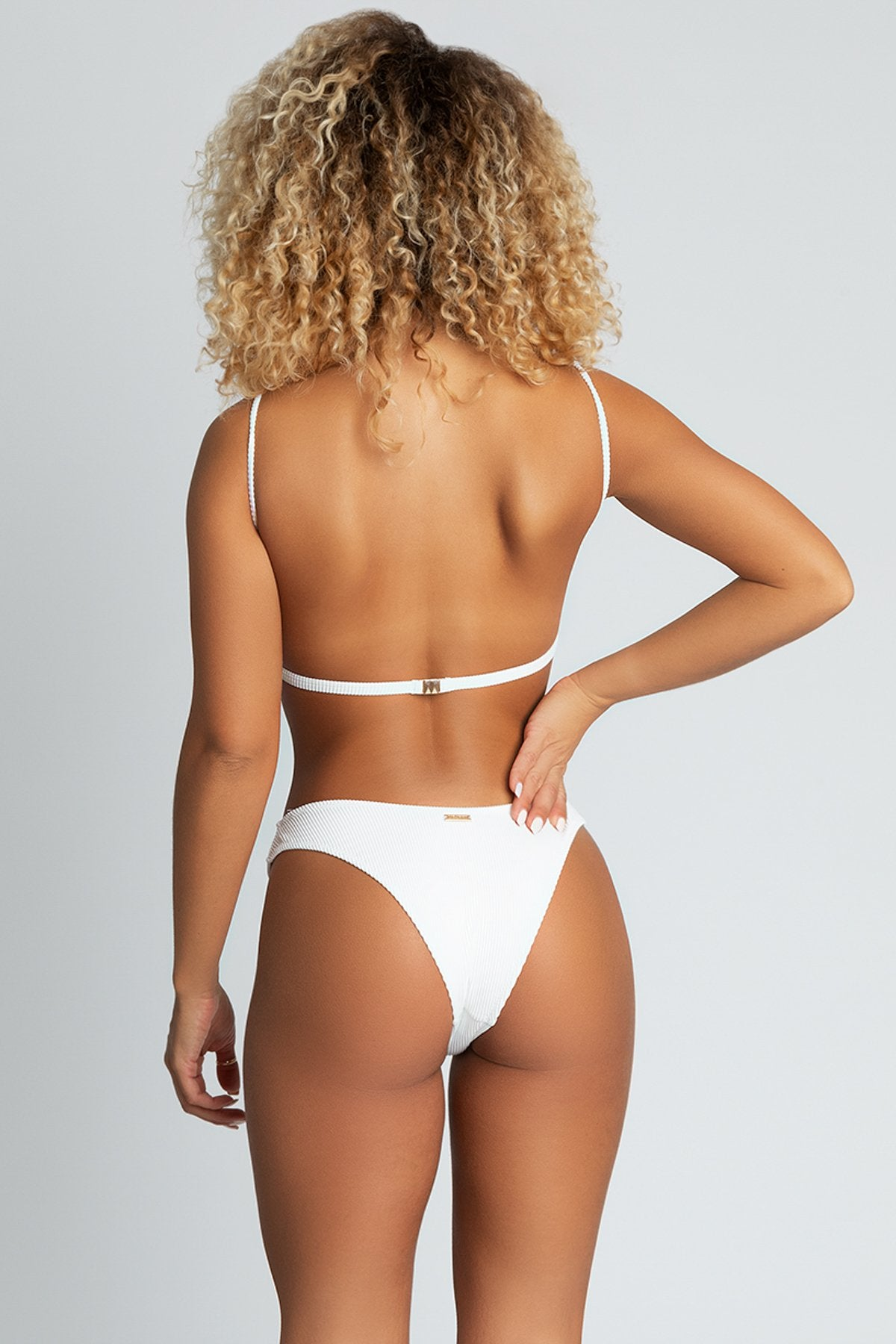 Aubrie Ribbed Thick Side Bikini Bottoms - White - MESHKI