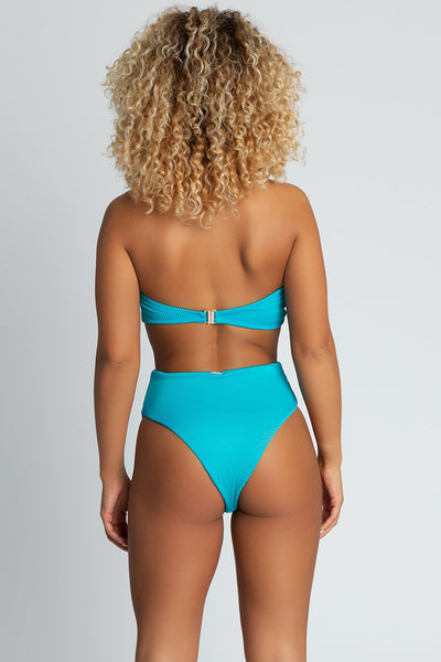 Nera Ribbed High Waist Bikini Bottoms - Turquoise - MESHKI