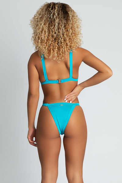 Esme Ribbed Triangle Bikini Top - Turquoise - MESHKI