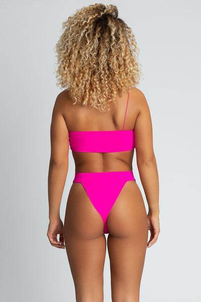 Mary High Waist V Bikini Bottoms - Neon Pink - MESHKI