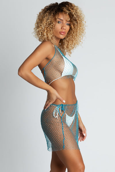 Dara Diamante Halter Net Crop - Blue