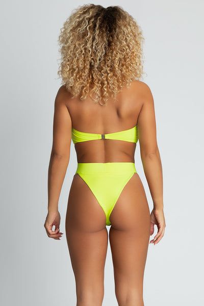 Mary High Waist V Bikini Bottoms - Neon Yellow - MESHKI