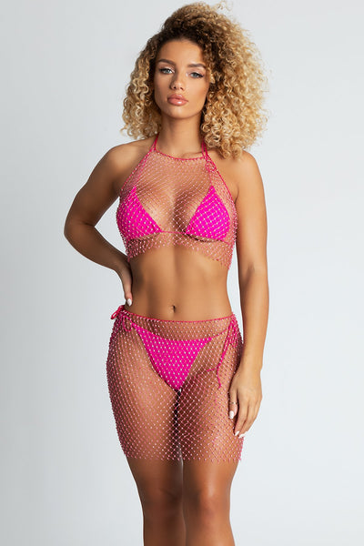 Dara Diamante Halter Net Crop - Pink