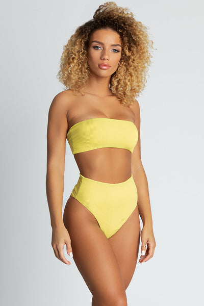 Nera Ribbed High Waist Bikini Bottoms - Yellow - MESHKI