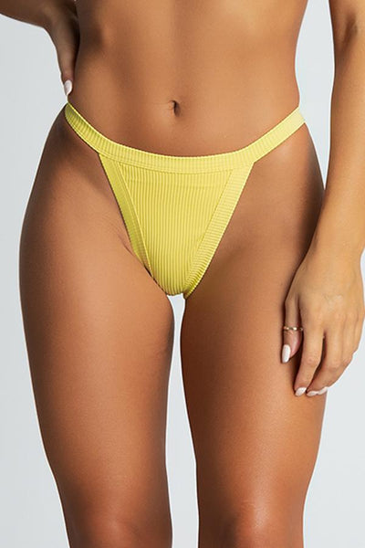 Moira Ribbed Brazillian Bikini Bottoms - Yellow - MESHKI