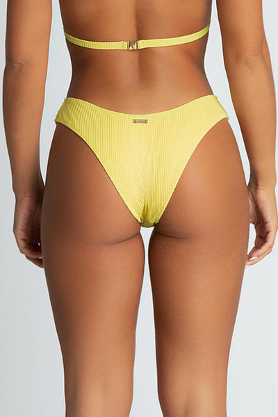 Aubrie Ribbed Thick Side Bikini Bottoms - Yellow - MESHKI