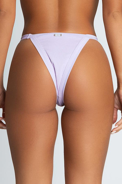Moira Ribbed Brazillian Bikini Bottoms - Lilac - MESHKI