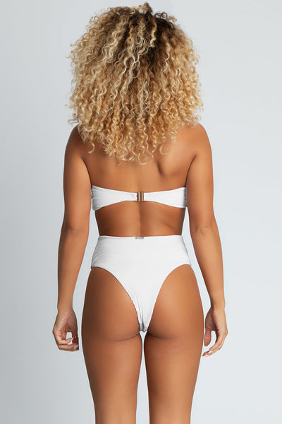Nera Ribbed High Waist Bikini Bottoms - White - MESHKI