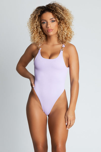 Yasmin Ribbed Clasp Detail One Piece - Lilac - MESHKI