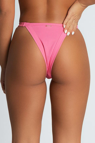 Moira Ribbed Brazillian Bikini Bottoms - Pink - MESHKI