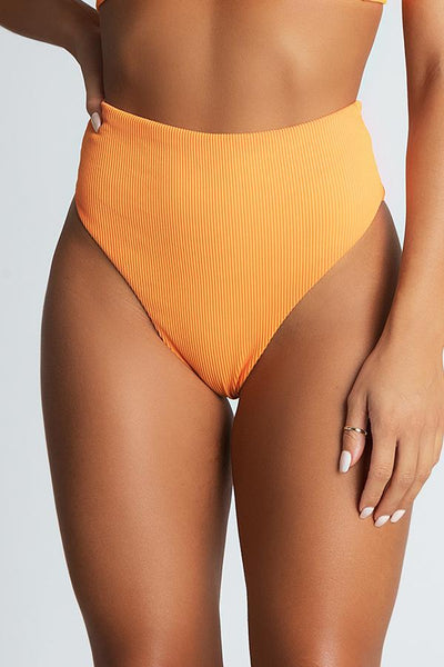 Nera Ribbed High Waist Bikini Bottoms - Orange - MESHKI