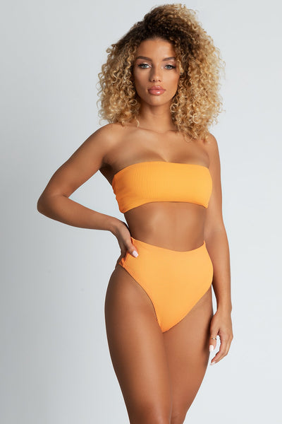 Amata Ribbed Bandeau Bikini Top - Orange - MESHKI