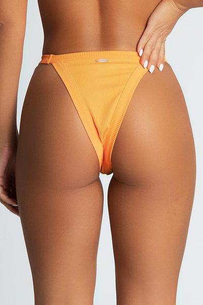 Moira Ribbed Brazillian Bikini Bottoms - Orange - MESHKI