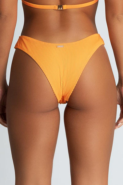 Aubrie Ribbed Thick Side Bikini Bottoms - Orange - MESHKI