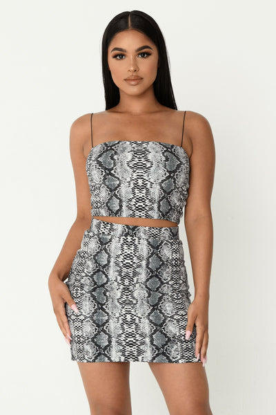 Iva Thin Strap Crop Top - Grey Snake