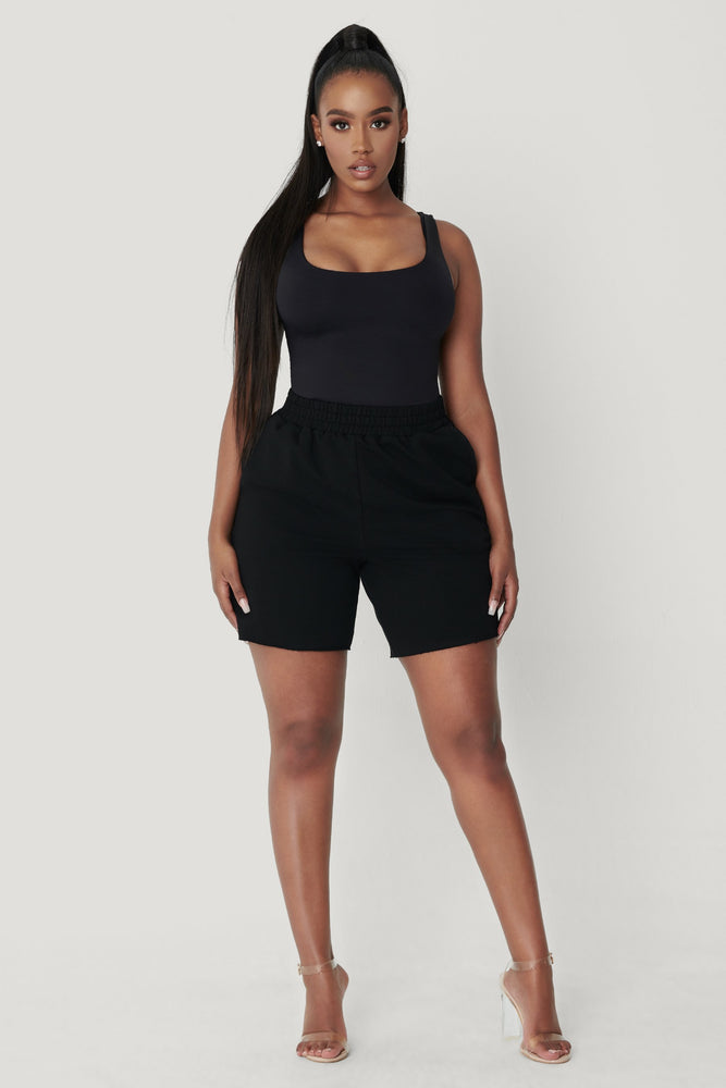 Jaelyn Thick Strap Scoop Neck Bodysuit - Black - MESHKI