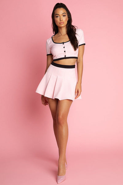 Cher Contrast Trim Crop Top - Pink