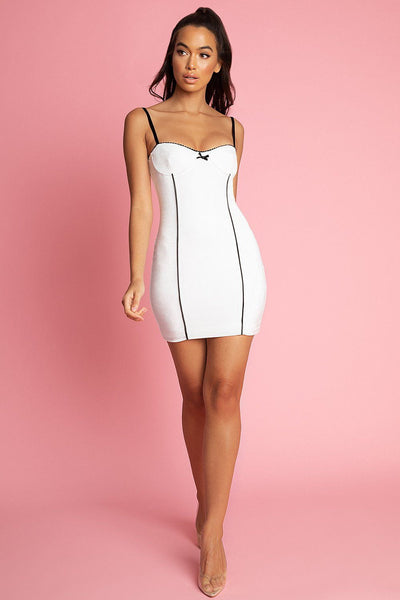 Charlotte Bow Detail Bodycon Mini Dress - White - MESHKI