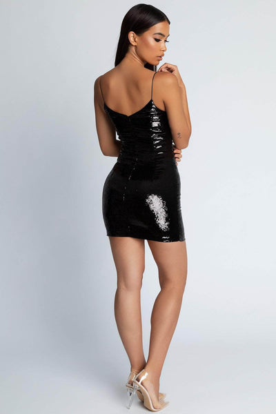 Katherine Sequin Mini Dress- Black - MESHKI