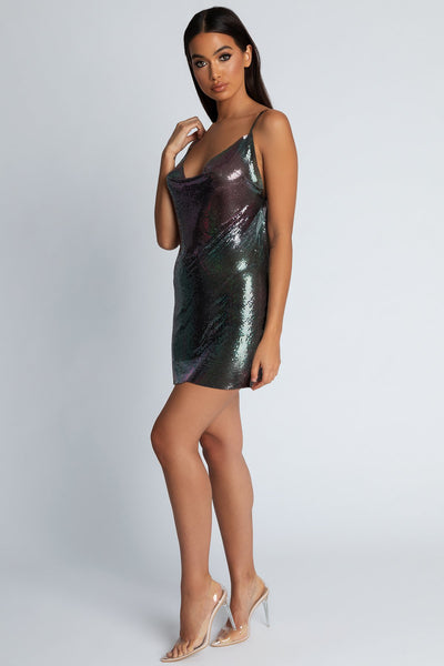 Bailey Thin Strap Glow Mesh Dress - Purple - MESHKI