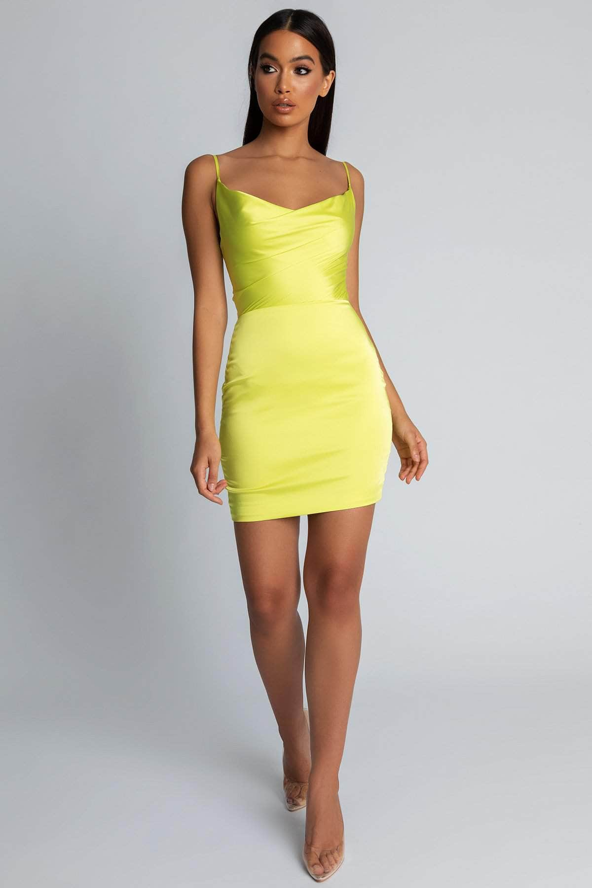 379979163a Zoey Cowl Neck Strappy Back Mini Dress - Lime Green - MESHKI