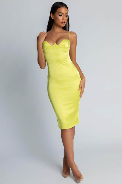 Loli Satin Cupped Dress- Lime