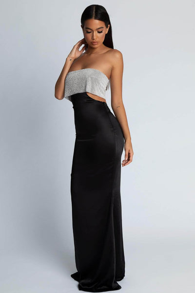 Genesis Strapless Diamante Maxi Dress - Black - MESHKI