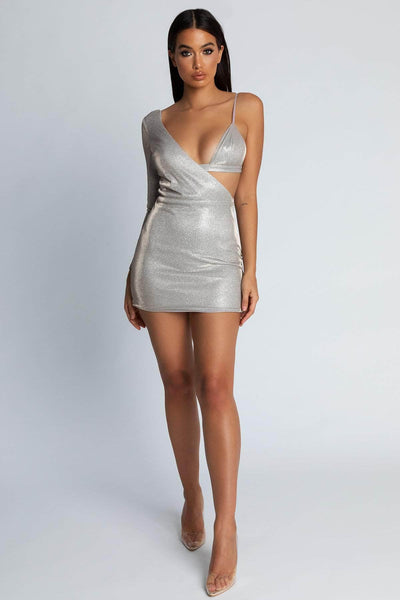 Lilliana Shimmer Asymmetric Dress with Bralet - Silver - MESHKI
