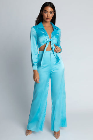 Morgan Super Wide Leg Satin Pants - Blue - MESHKI