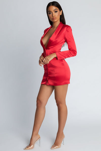 Reese Satin Blazer Mini Dress - Red - MESHKI