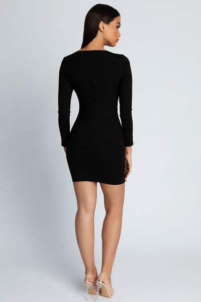Callie Long Sleeve Dress - Black - MESHKI