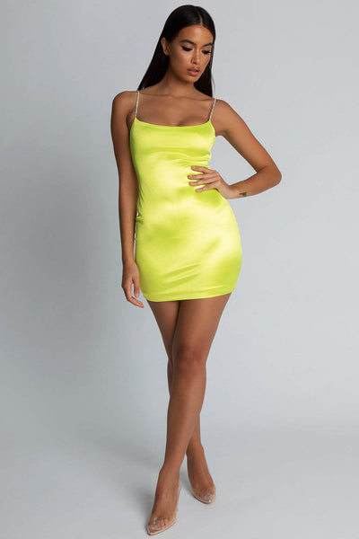 Ruby Diamante Strap Mini Dress - Neon Yellow - MESHKI