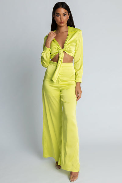Payton Satin Tie Front Shirt - Lime Green - MESHKI