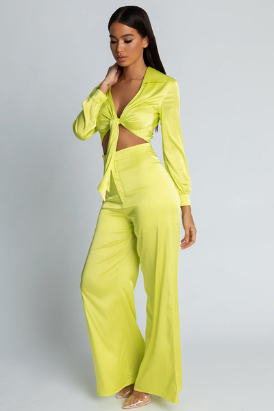 Morgan Super Wide Leg Satin Pants - Lime Green - MESHKI