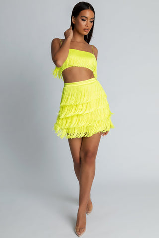 Sofia Fringe Mini Skirt - Yellow - MESHKI