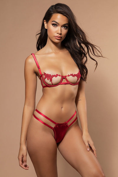 Thora Embroidery & Satin Bra - Red - MESHKI