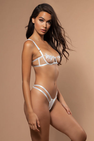Thora Embroidery & Satin Brazilian Bottoms - White