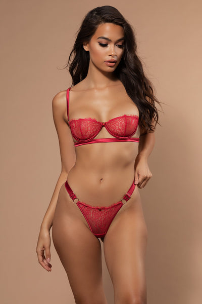 Vanessa Lace & Satin Thong - Red - MESHKI
