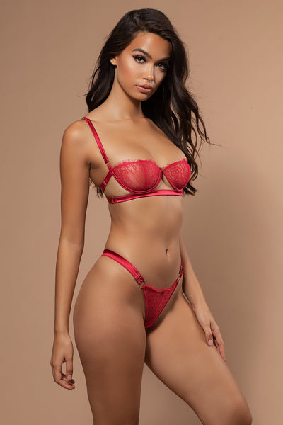 Vanessa Satin & Lace Bra - Red - MESHKI