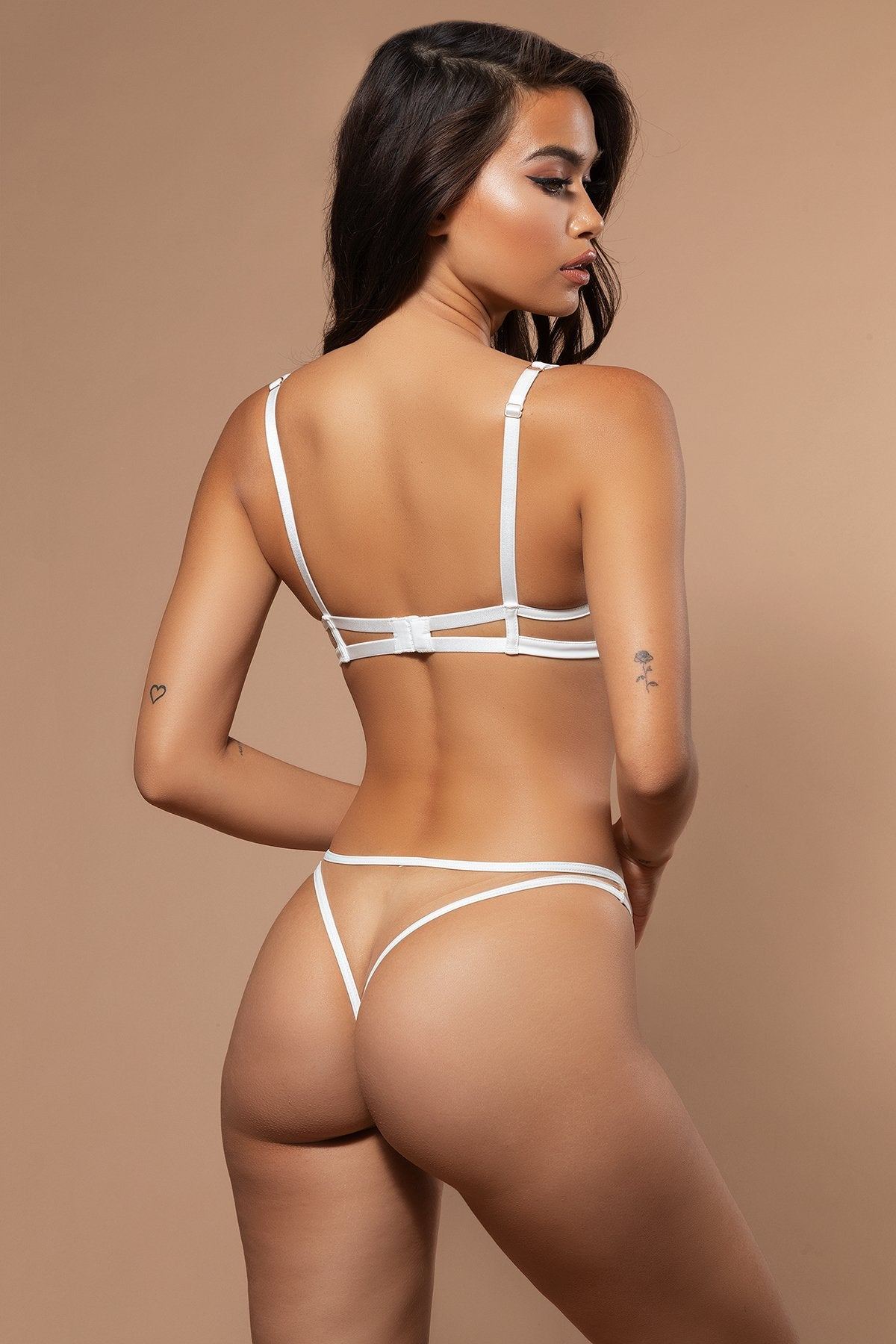 Taylor Mesh & PU Leather Brazilian Briefs - Ivory - MESHKI