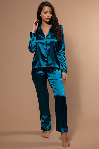 Abigail Satin Long Sleeve Pyjama Top - Turquoise - MESHKI