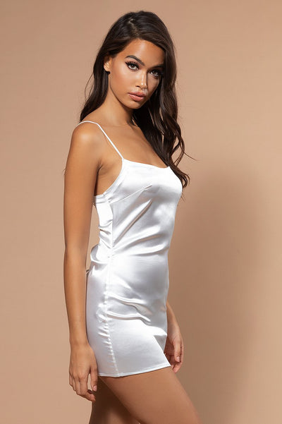 Kylee Lace Up Slip Dress - Ivory